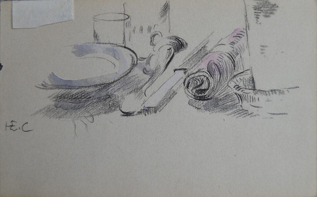"""Cross, """"À table/Étude de femme vue de dos"""", tableau vendu par la galerie Offenstadt."""