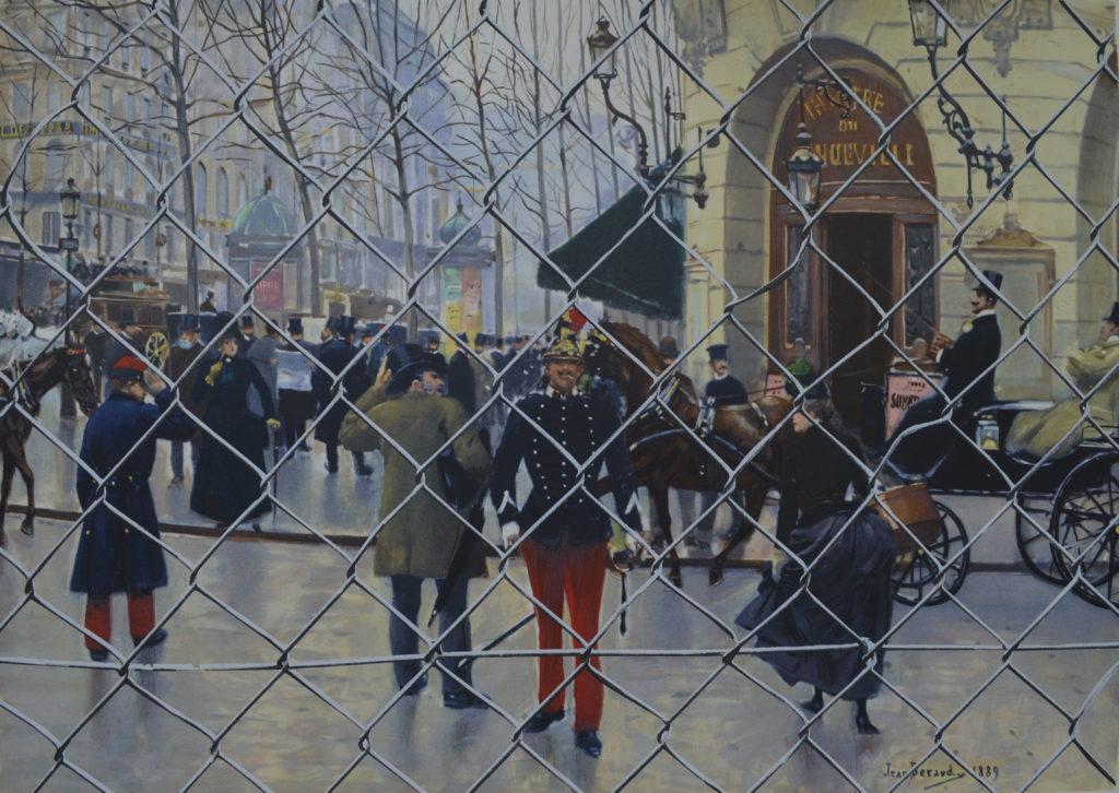"""Béraud et Hakeem B, """" Le boulevard des Capucines et le théâtre de Vaudeville"""", tableau vendu par la galerie Offenstadt."""