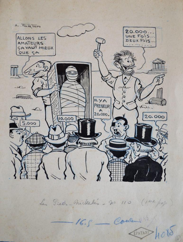 """Forton, """"Vente aux enchères"""", tableau vendu par la galerie Offenstadt."""